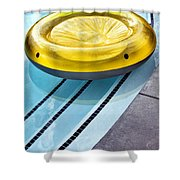 Yellow Float Palm Springs Shower Curtain