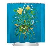 Yellow Floral Enchantment In Turquoise Shower Curtain