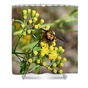 Yellow Flower Bee Shower Curtain