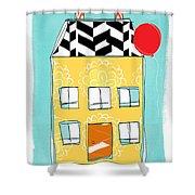 Yellow Flower House Shower Curtain