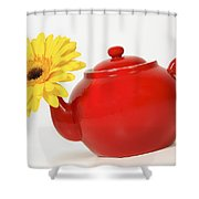 Yellow Flower In A Red Teapot Shower Curtain