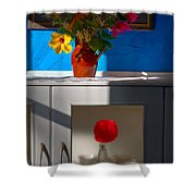 Yellow Flower In A Vase Of Clay. Shower Curtain
