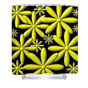 Yellow Flower Power 3d Digital Art Shower Curtain