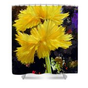 Yellow Flower With Splatter Background Shower Curtain
