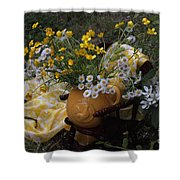 Yellow And White Flowers Shower Curtain