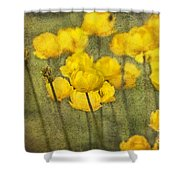 Yellow Flowers With Texture Shower Curtain