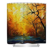 Yellow Fog 2 - Palette Knife Oil Painting On Canvas By Leonid Afremov Shower Curtain
