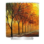 Yellow Fog - Palette Knife Oil Painting On Canvas By Leonid Afremov Shower Curtain