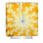 Yellow Fractal Shower Curtain