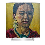 Yellow Frida Shower Curtain