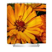 Yellow Gold Flowers Shower Curtain