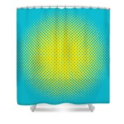 Optical Illusion - Yellow On Aqua Shower Curtain