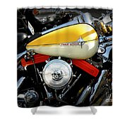Yellow Harley Shower Curtain by Lainie Wrightson
