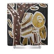 Yellow Head Brown Owl Bird On The Tree Shower Curtain
