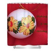 Yellow Hibiscus Christmas Bulb Shower Curtain