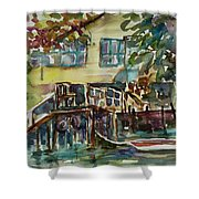 Yellow House By The River Shower Curtain