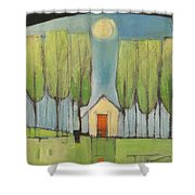 Yellow House In Woods Shower Curtain