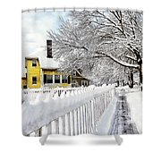 Yellow House With Snow Covered Picket Fence Shower Curtain