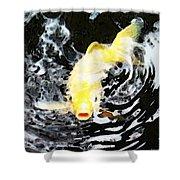 Yellow Koi - Black And White Art Shower Curtain