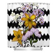 Yellow Lilies On Black And White Zigzag Shower Curtain