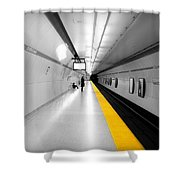Yellow Line Shower Curtain