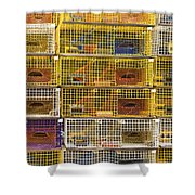 Yellow Lobster Traps In Maine Shower Curtain