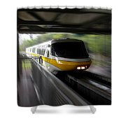 Yellow Monorail Entering The Station 02 Shower Curtain