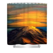 Yellow Mountaintop Hugged By Yellow Cloud  Shower Curtain
