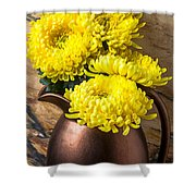 Yellow Mums In Copper Vase Shower Curtain