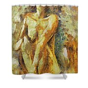 Yellow Nude Shower Curtain