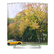 Yellow Nyc Taxi Driving Through Central Park Usa Shower Curtain