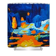 Yellow Orange Blue Sunset Landscape Shower Curtain by Patricia Awapara