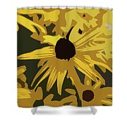 Yellow Paper Flower Shower Curtain