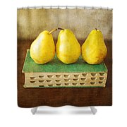 Yellow Pears And Vintage Green Book Still Life Shower Curtain