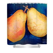Yellow Pears On Blue Number Two Shower Curtain
