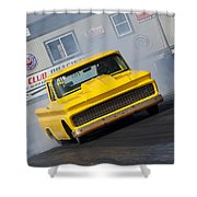 Yellow Pick Up Truck Shower Curtain
