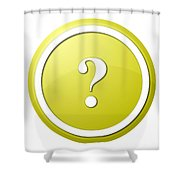 Yellow Question Mark Round Button Shower Curtain