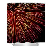 Yellow Red Firework Explosion Shower Curtain
