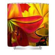 Yellow Red Kiss Shower Curtain