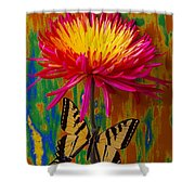 Yellow Red Mum With Yellow Black Butterfly Shower Curtain