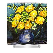 Yellow Roses In Blue Vase Shower Curtain