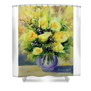 Yellow Roses Shower Curtain by Kathy Braud