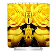 Yellow Roses Mirrored Effect Shower Curtain