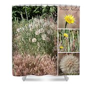Yellow Salsify Collage Shower Curtain
