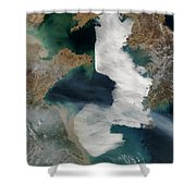 Yellow Sea - Satellite View Shower Curtain
