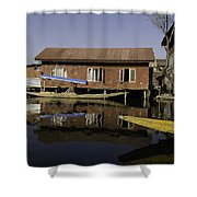 Yellow Shikara In Front Of A Run Down Area Of Houses In The Dal Lake Shower Curtain