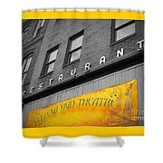 Yellow Sign Theatre Shower Curtain
