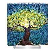 Yellow Squiggle Tree Shower Curtain