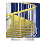 Yellow Steps On Tank Shower Curtain
