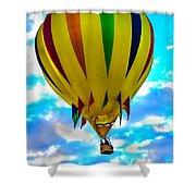 Yellow Striped Hot Air Balloon Shower Curtain